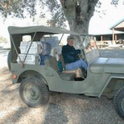 Volunteer in a jeep