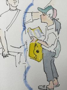 夏休みのスタンプラリーでピカチューの袋