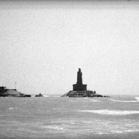 A boat heads to the Thiruvalluvar statue at Kanyakumari, the very southern tip of India, where the Indian Ocean meets the Arabian Sea and the Bay of Bengal