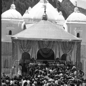 Crowds worship in front of the Gangotri Temple to Ma Ganga in the Garwhal Himalayas