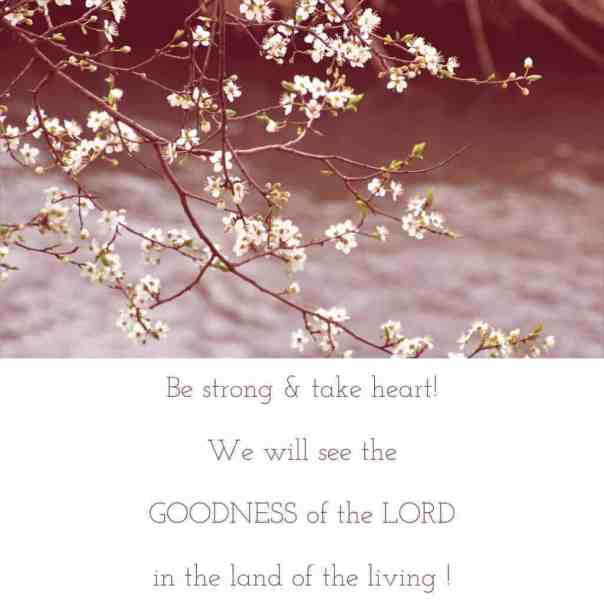 Be strong and take heart ! Psalm 27