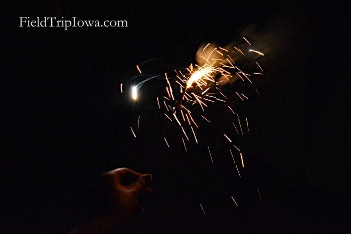 Ledges State Park sparklers in the dark