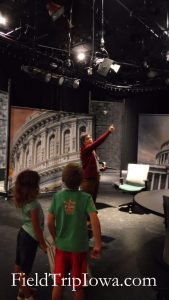 Kids on Iowa Public Television statge for a field trip