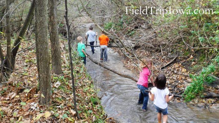 Margo Frankel Woods State Park Children hauling logs in creek