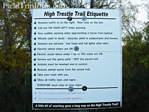 High Trestle Trail Bridge Etiquette rules sign