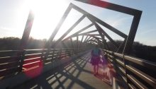 sunset on High Trestle Trail Bridge in Madrid Iowa