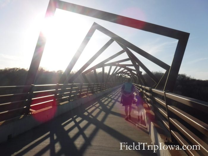 sunset on High Trestle Trail Bridge in Madrid Iowa