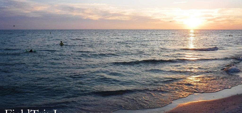 Swimming at Bean Point at sunset onAnna Maria Island Florida.