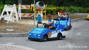 Kids driving cars at Legoland Florida..