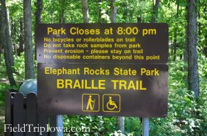 Braille trail for the blind at Elephant Rocks State Park