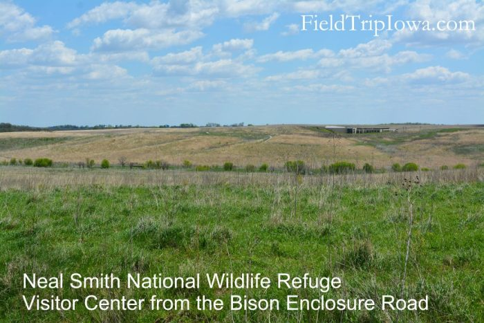 Neal Smith National Wildlife Refuge Visitor Center across the prairie.