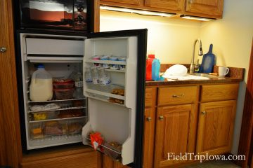 Kitchenette and fridge in family suite in Shepherd Mountain Inn in Ironton MO.