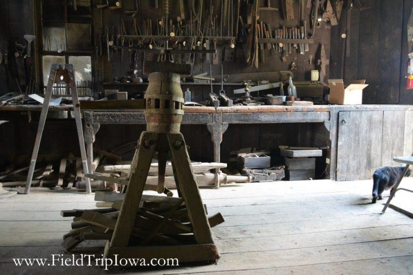 Wagon Wheel Setting tool at Matt Edel Blacksmith Shop in Iowa