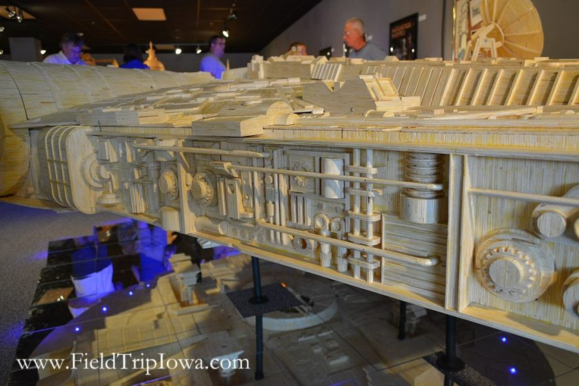 Detailed section of Star Wars Millennium Falcon model at Matchstick Marvels