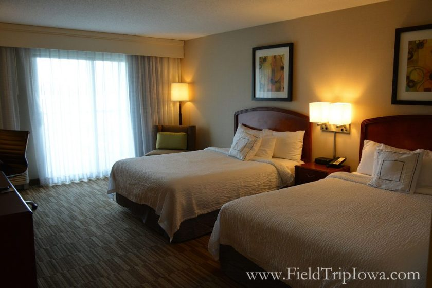 Two Queen beds in a hotel room at Courtyard By Marriott in Roseville MN