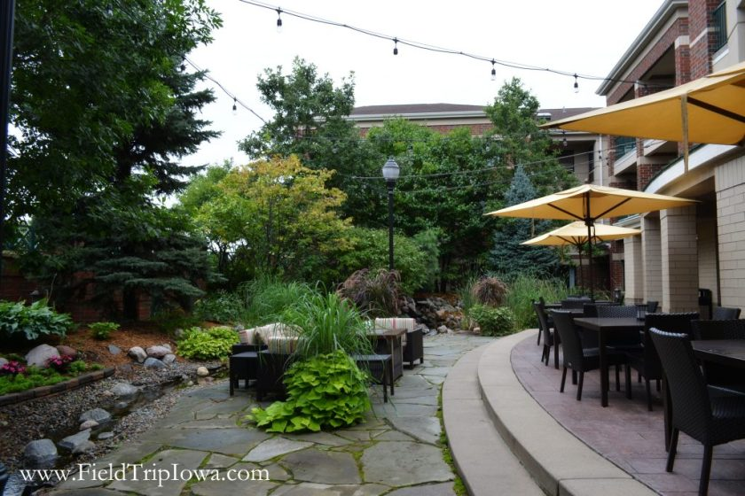 Outdoor patio with lights at Courtyard By Marriott in Roseville MN