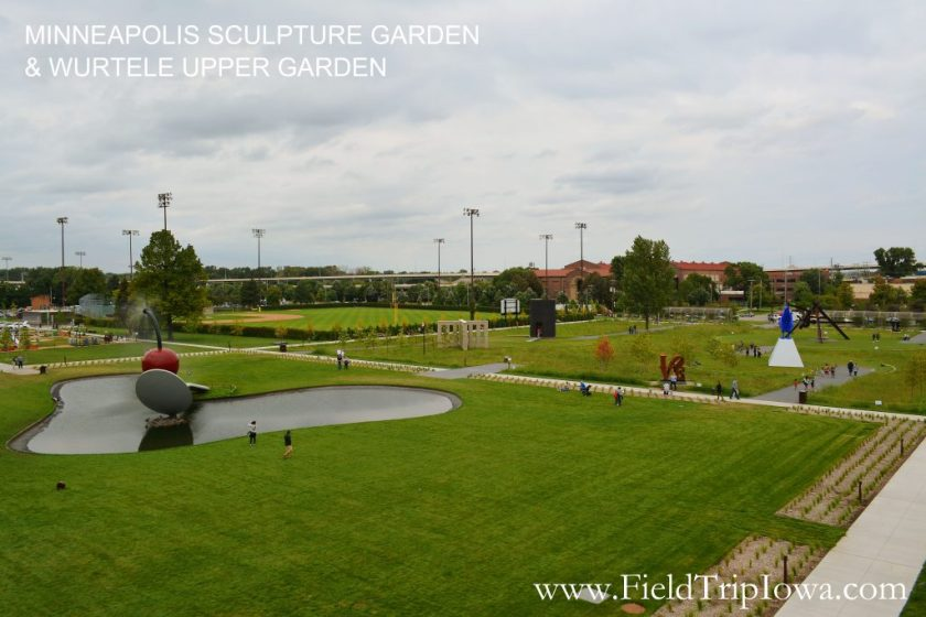 MINNEAPOLIS SCULPTURE GARDEN & WURTELE UPPER GARDEN taken from bridge in the Twin Cities MN