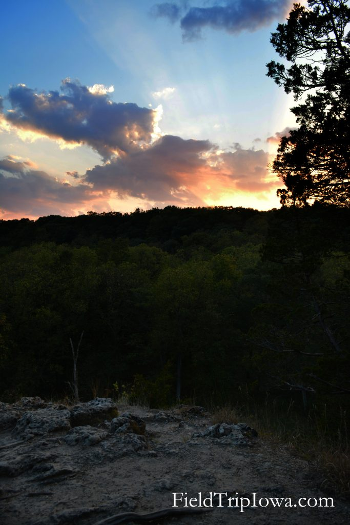 Sunset along trail at Backbone State Park on Backbone Trail in Iowa