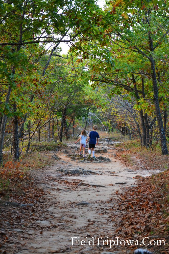 Children walk down trail at Backbone State Park on Backbone Trail in Iowa
