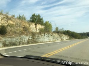 Rock edge along Iowa Byway