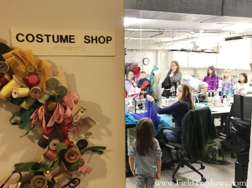 The Costume Shop sign at Des Moines Community Playhouse tour in Iowa.