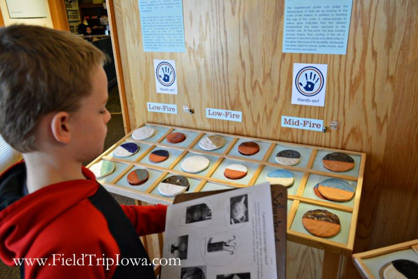Boy does a scavenger hunt at Cedar Falls Historical Society in Iowa