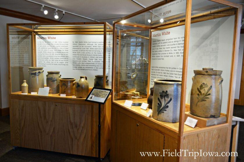 Pottery ceramics at Cedar Falls Historical Society in Iowa
