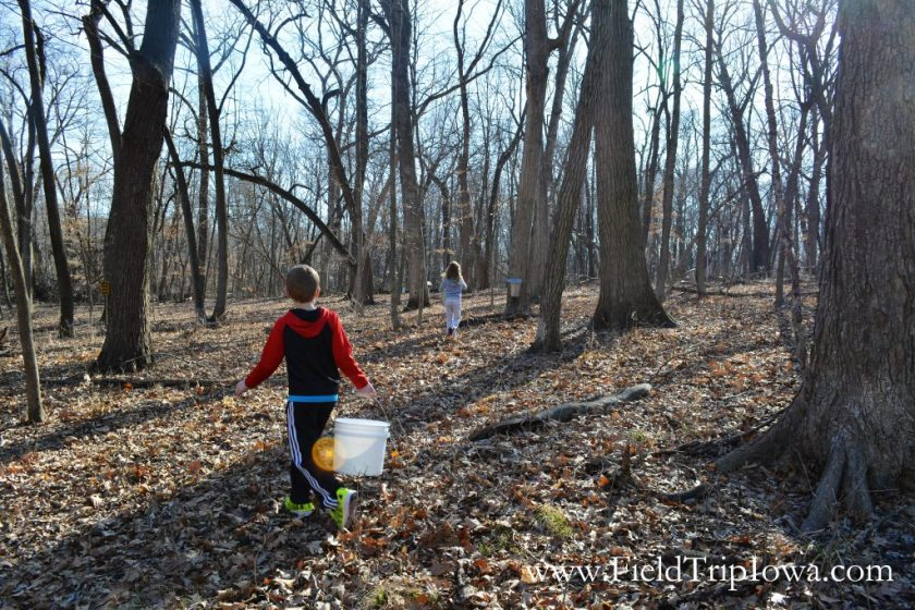 Children walking in woods at Hartmand Reserve Nature Center in Cedar Falls Iowa.