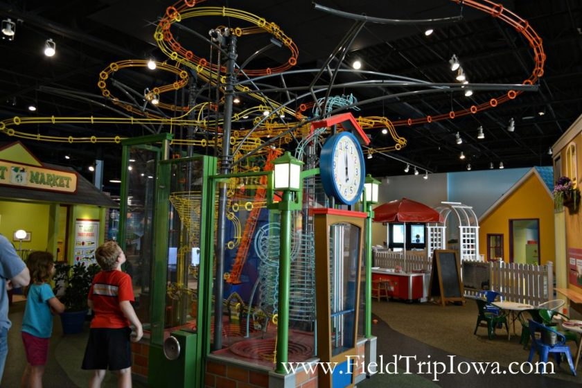 Children watch clock tower at Family Museum in Daventport