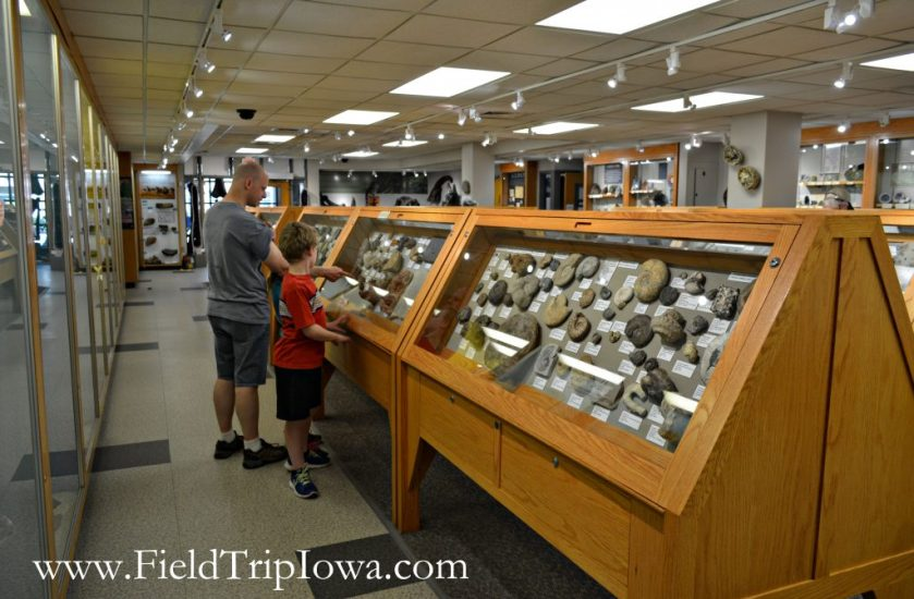 Family looks at displays at Fryxell Geology Museum