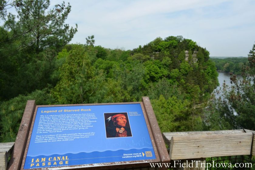 Sign with legend of Starved Rock in Starved Rock State Park, IL