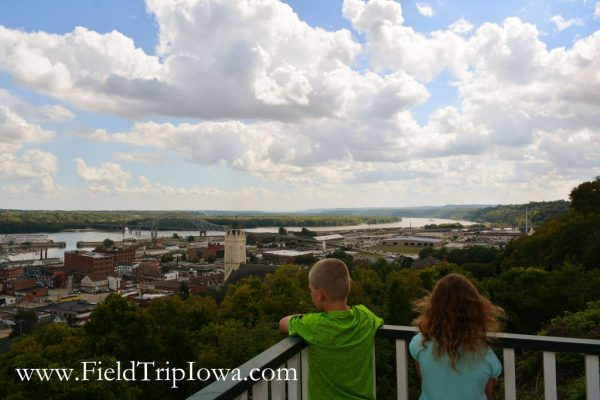 Children look at river and downtown Dubuque.