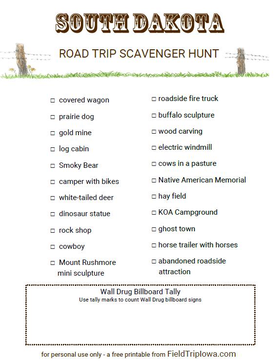 Printable road trip game