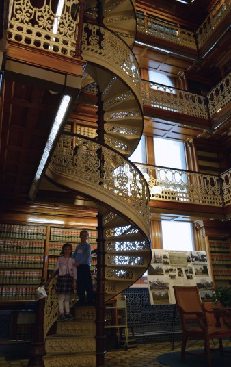 the public is allowed to walk up one flight on stairs in the library on the south end
