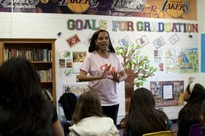 Shari Headley speaks to the Dance and Drama Program at the Boys & Girls Club of East Los Angeles . (Photo: Saving Our Daughters)