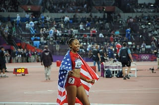 Six-time Olympic medalist Allyson Felix enjoying victory at the 2012 games in London. Photo: (Citizen59/Creative Commons)