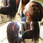 A half head of well kept dreads can be base tied in about 30-45 minutes