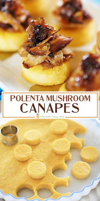 Polenta Canapes with Mushroom Ragout - the perfect appetizer for a vegetarian meal. Those mushrooms are so