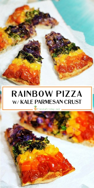 Rainbow pizza (vegetarian) loaded with nutritious and delicious vegetables AND kale in the crust! And kids love it!
