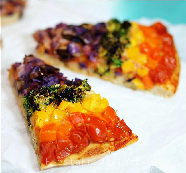 Vegetarian Rainbow Pizza