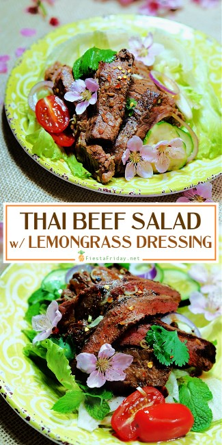 Thai Beef Salad is not only quick and easy to prepare but is also versatile since you can pretty much include any seasonal fresh vegetables you prefer. This version is bursting with flavors from the grilled beef and refreshing lime and lemongrass dressing! #thai #beef #thaibeefsalad #salad #healthy #seasonal #summerrecipe #fennel #lemongrass #limes #limedressing
