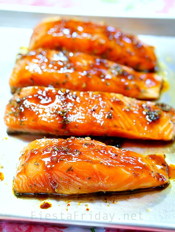 Broiled Salmon With Rosemary And Lemon Zest Infused Honey