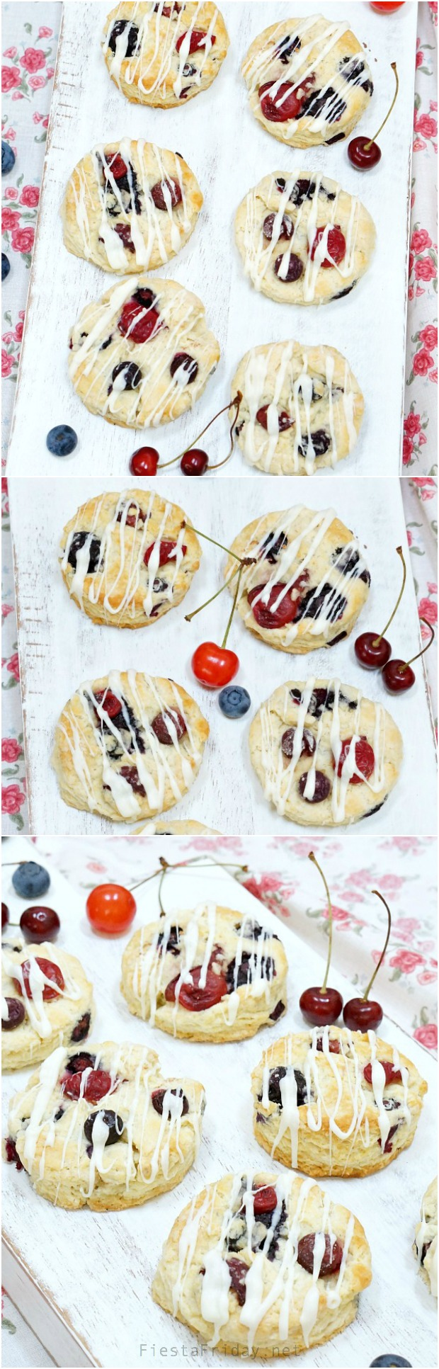 red white and blue patriotic scones | fiestafriday.net