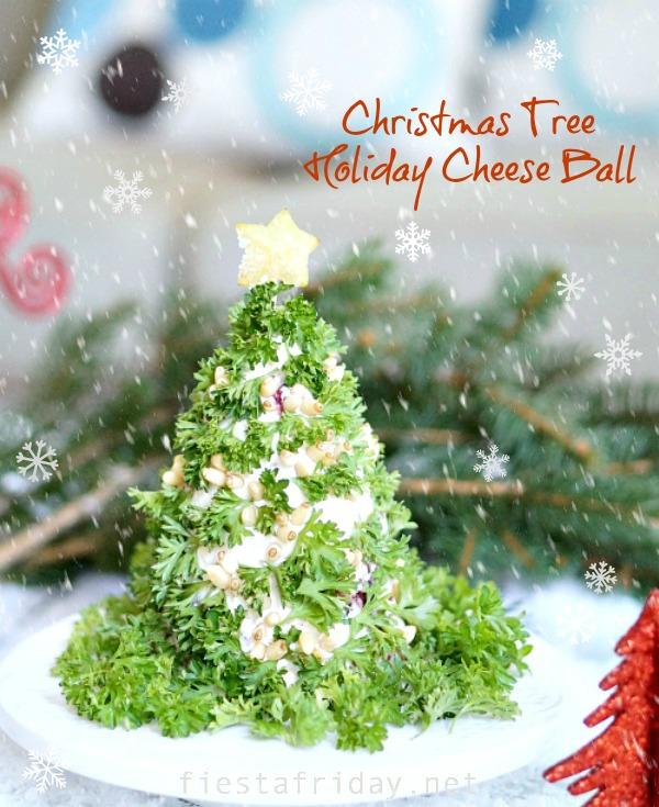 christmas tree holiday cheese ball | fiestafriday.net