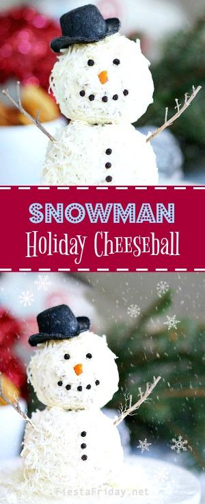 snowman-holiday-cheeseball | fiestafriday.net