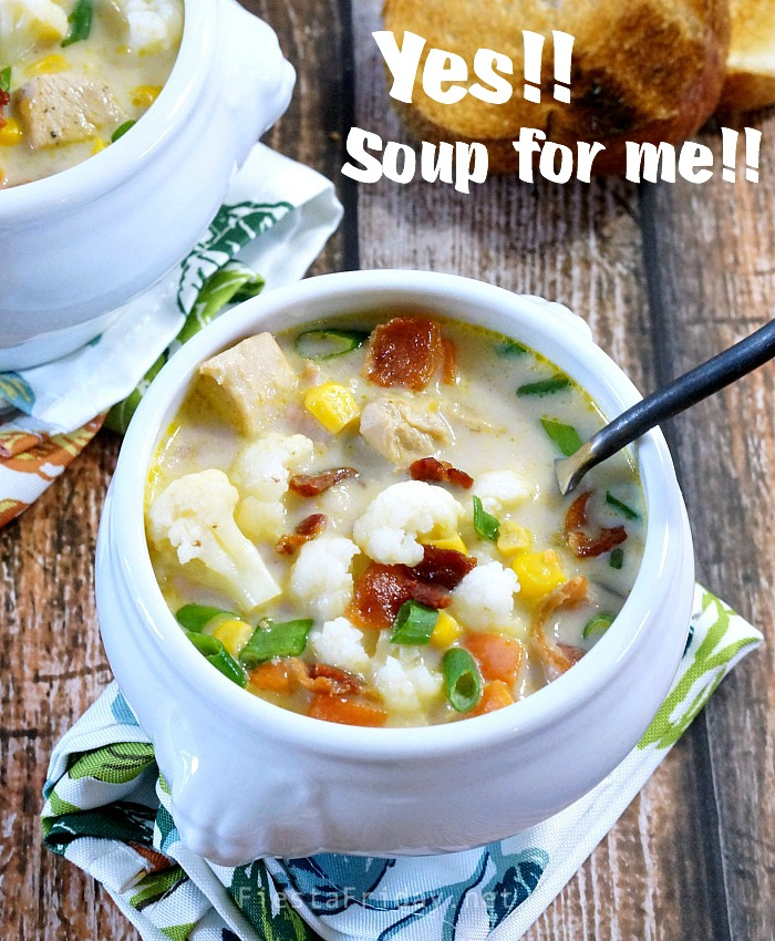 chicken cauliflower chowder | fiestafriday.net