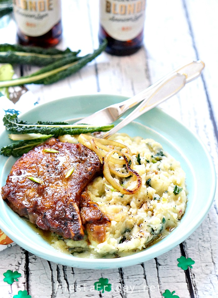 Guinness Pork Chops with Onion Brown Gravy | FiestaFriday.net