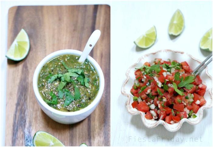 salsa verde and pico de gallo