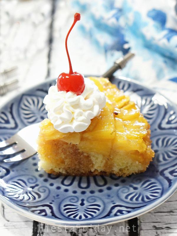 pineapple cake with cherry on top | fiestafriday.net