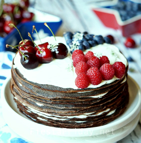 chocolate-cheesecake-crepe-cake | fiestafriday.net